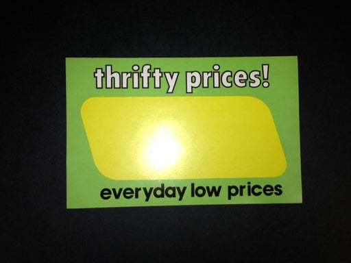 "Thrifty Prices Shelf Signs-Retail Price Cards- 11""W x 7""H-100 signs"