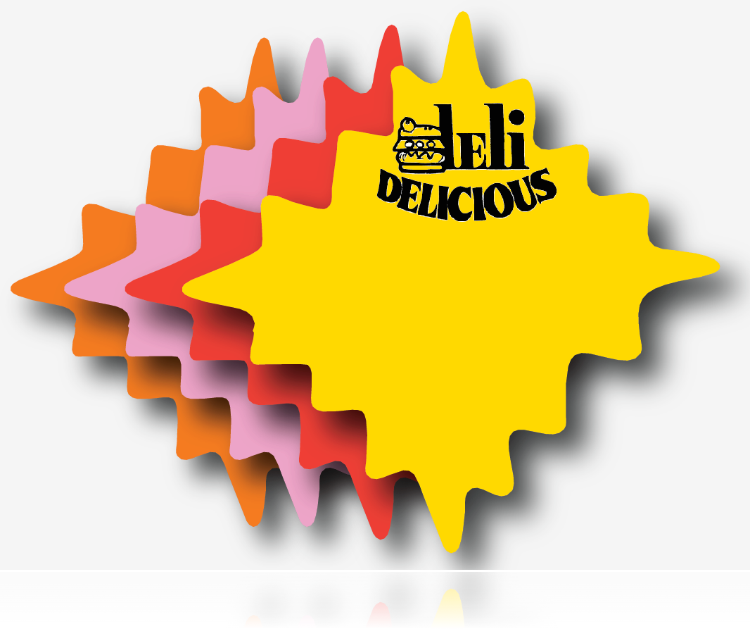 Deli Delicious Starburst Shelf Signs-100 signs