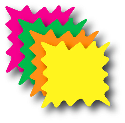 "Rainbow Pack Die Cut Shaped Starburst Shelf Signs-Price Cards-  6""W x 6""H"