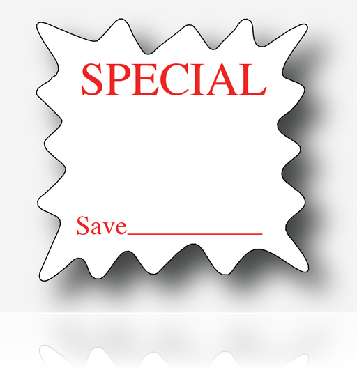 "Special Die Cut Starburst Shelf Signs- 6""H x 6""W -100 signs"