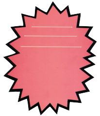 "Pink Die Cut Starburst Shelf Signs- 4""W x 6""H -100 signs"