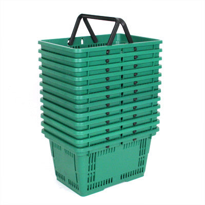 Shopping Baskets Large-Green-set of 12