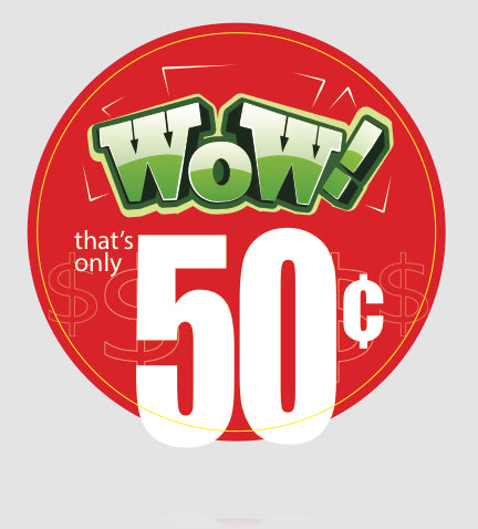 Cooler Door Decals-Clings- Wow only Fifty Cents