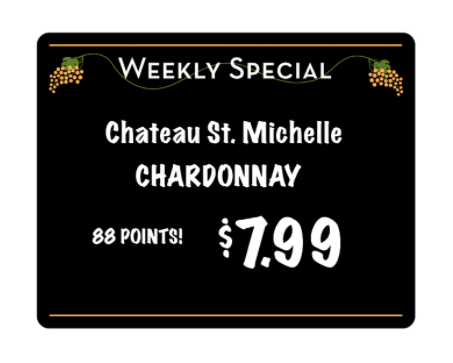 Wine Weekly Specials Price Board
