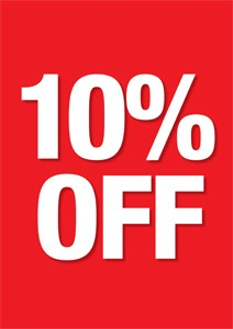 "10 % Off Window Signs Poster-36"" W x 48"" H"
