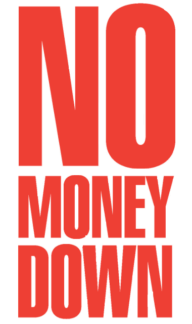 "No Money Down Window Signs Poster-36"" W x 48"" H"