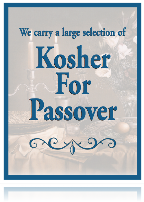 "Kosher for Passover Window Sign-Poster-36""W x 48""H"