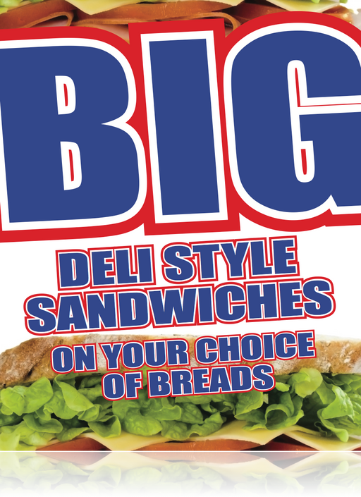 "Deli Sandwiches Window Sign or Wall Poster-36""W x 48""H"