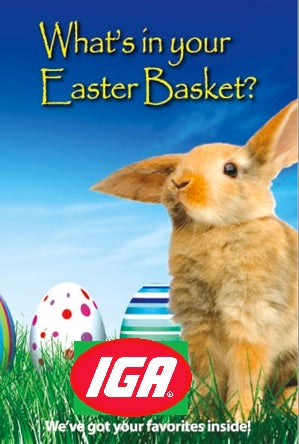 "IGA Easter Sale Window Sign Poster -36"" W x 48"" H"