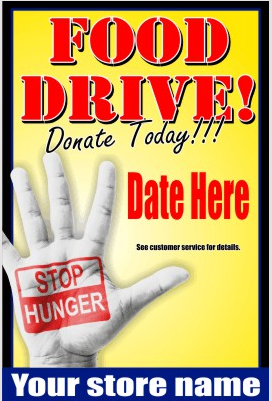 "Food Drive Window Signs or Wall Poster-36""W x 48""H"