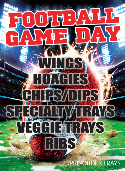 "Football Themed Party Platter Window Signs Poster-36""W x 48""H"