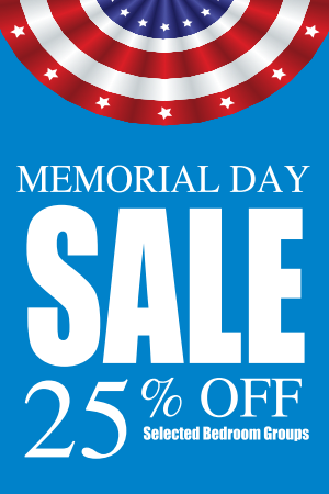 "Memorial Day 25% Off Sale Window Signs Poster-36"" W x 48"" H"