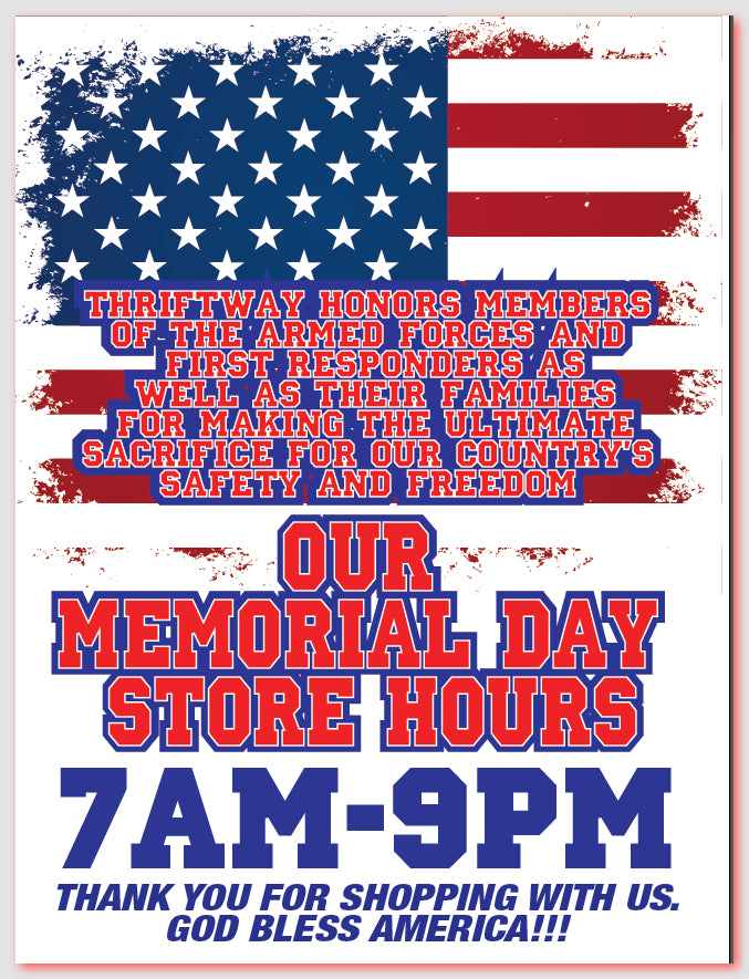 Memorial Day Store Hours Window Sign-Custom Printed