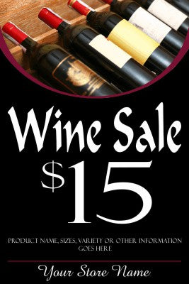 "Wine Sale Window Signs Poster-36"" W x 48"" H"