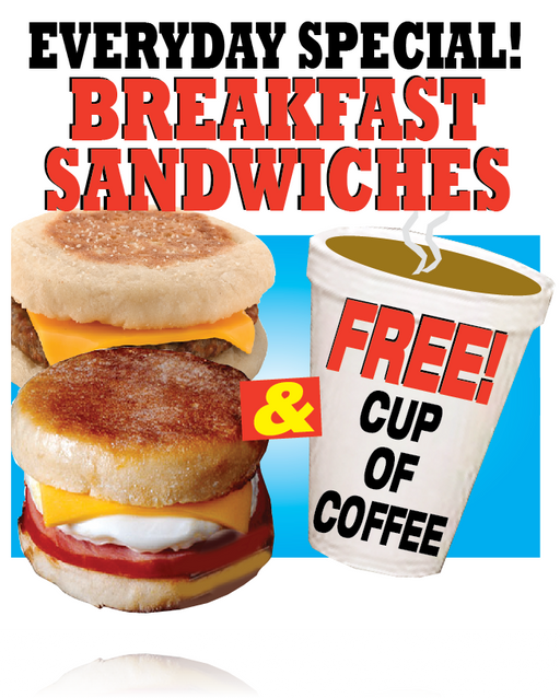 Breakfast Sandwiches Window Sign Poster