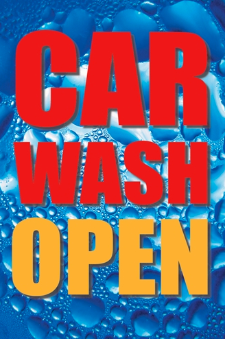 Car Wash Window Sign Poster-Now Open