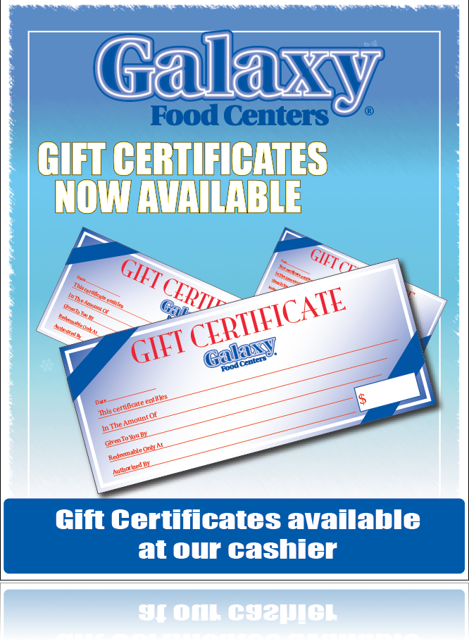 "Galaxy Food Centers Gift Certificate Window Poster-36""W x 48""H"
