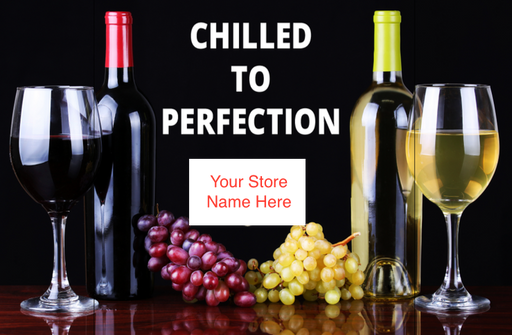 Chilled Wine Shelf Sign Price Cards-Custom Printed-10 signs