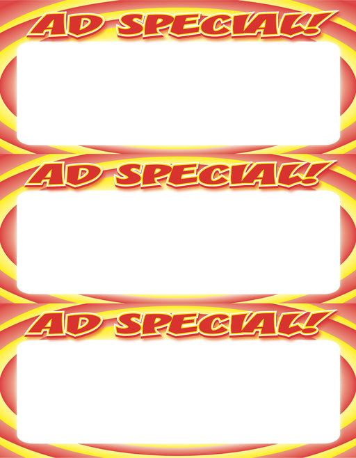 Ad Special Circle Shelf Signs Price Cards-Laser Compatible-3 signs per sheet-300 signs