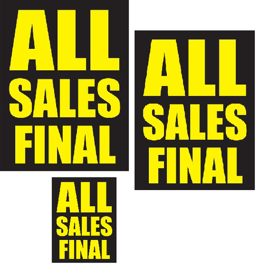 all sales final retail promotional sale event sign kit store closing black