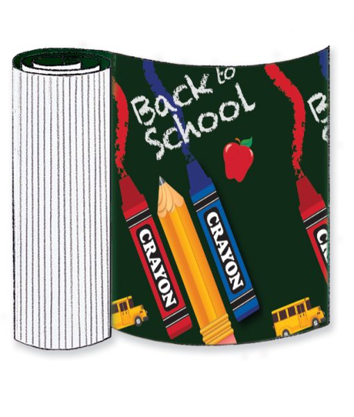 Back to School Crayon Corrugated Base Pallet Wrap
