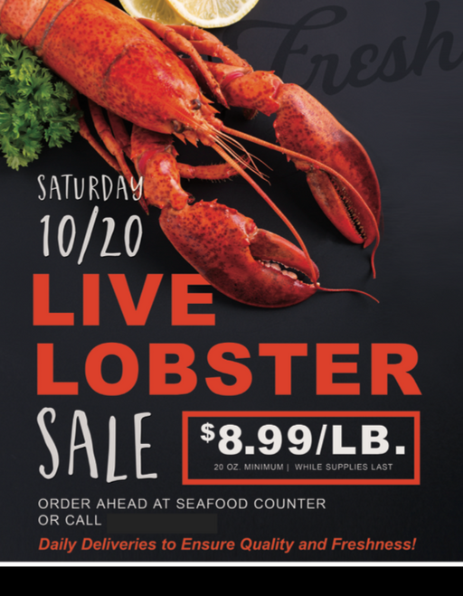 Lobster Sale Floor Stand Stanchion Sign