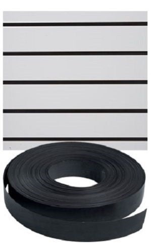 "Slatwall Decorative Vinyl Inserts-Black Plastic Strips-1 1/4""W x 130ft -5 Rolls"
