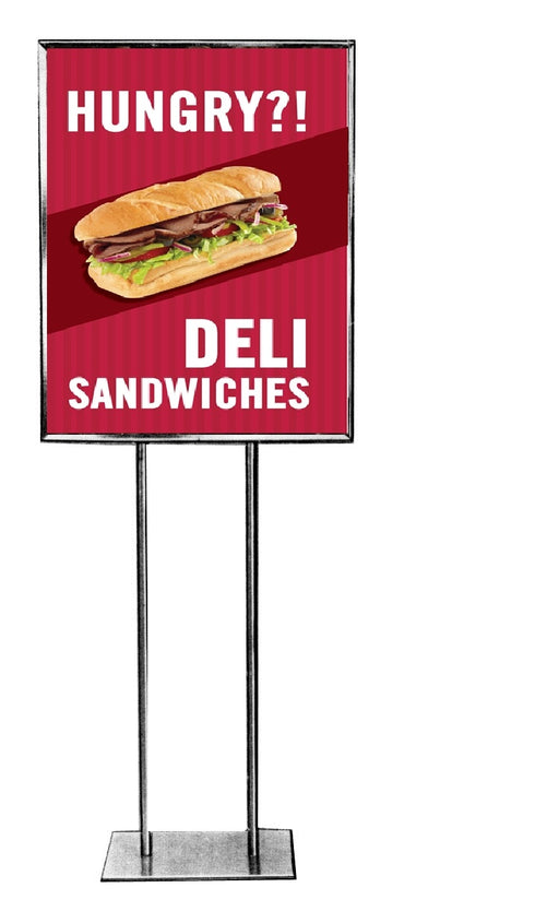 "Deli Sandwiches Floor Stand Stanchion Signs-22"" W x 28"" H"