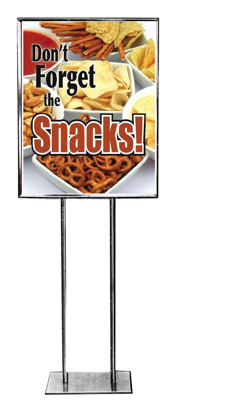 "Don't Forget The Snacks Floor Stand Stanchion Signs-22""W x 28""H"