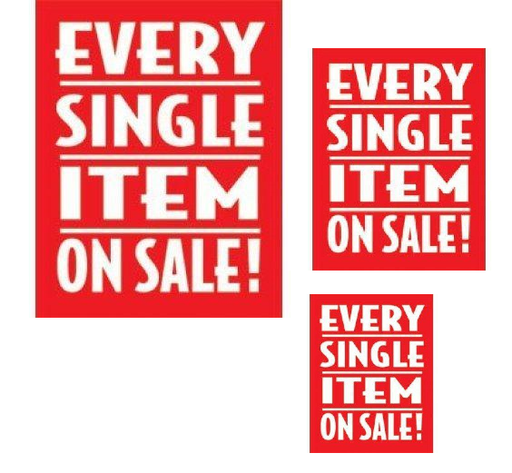 Every Single Item On Sale Retail Sale Event Sign Kit