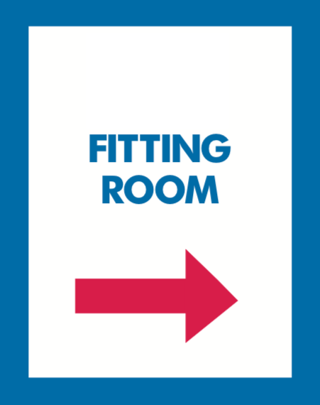 Thrift Store Floor Stand Stanchion Poster Signs- Fitting Room