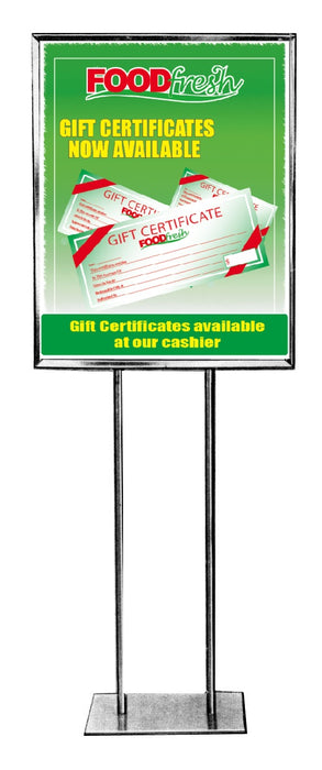"Food Fresh Gift Certificate Floor Stand Stanchion Sign -22""W x 28""H"