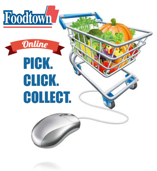 Foodtown On Line Shopping Floor Stand Stanchion Signs