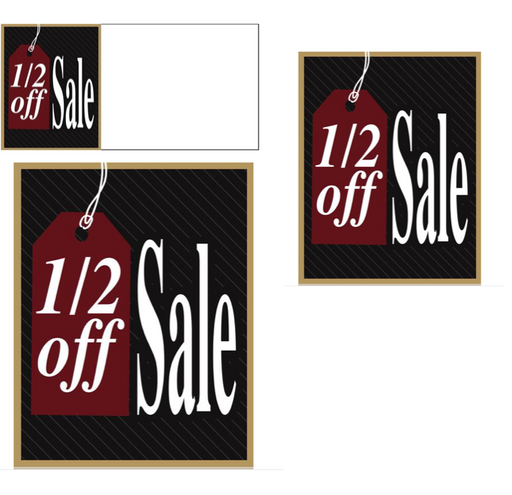 1/2 Off Sale Retail Sale Event Sign Kit-Black
