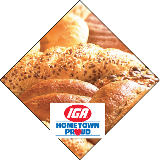 IGA Bakery Ceiling Dangler hometown proud logo