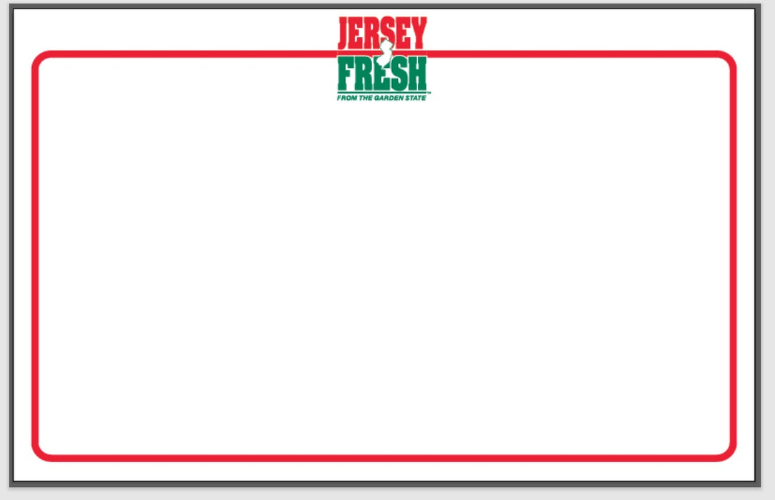 "Jersey Fresh Produce Shelf Signs  11""W x 7""H -100 signs"