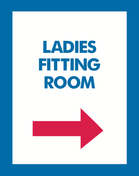 Thrift Store Floor Stand Stanchion Poster Signs-Ladies Fitting Room