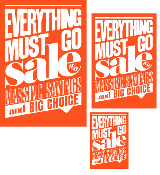 Everything Must Go Sale Retail Sale Event Sign Kit