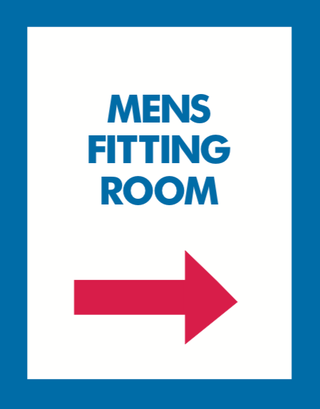 Thrift Store Floor Stand Stanchion Poster Signs-Mens Fitting Room