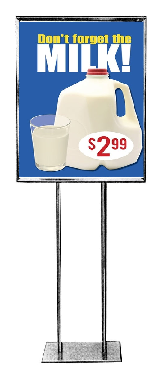 Don't Forget The Milk Floor Stand Stanchion Sign with Custom Price