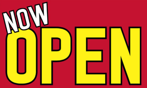 "Now Open Window Sign Poster-22"" H x 28"" W"