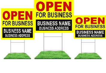 "Lawn-Yard Signs for Retail-Custom Printed Open for Business 24 ""x 18"""
