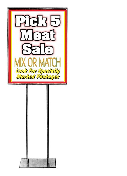 Pick 5 Meat Floor Stand Stanchion Sign