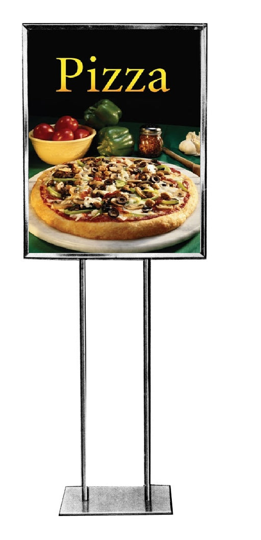 Pizza Floorstand Stanchion Sign-Black