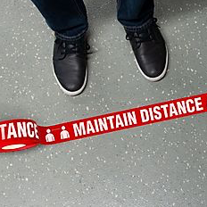 Social Distancing Safety Message Floor Tape