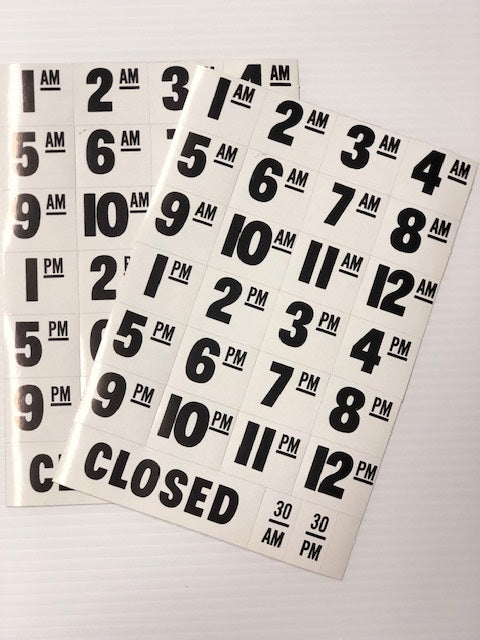 Store Hours Window Door Decals- 5 pieces
