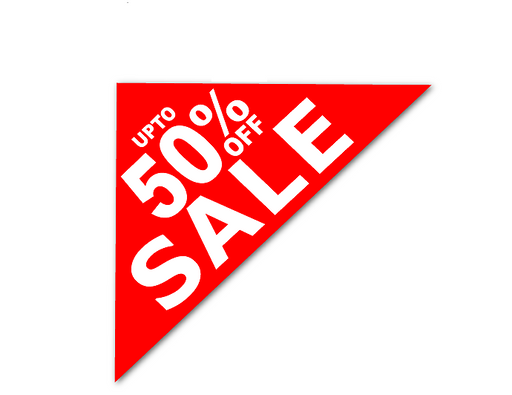 50% Off Sale Corner Window Sign