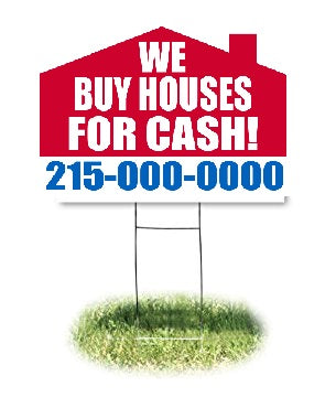 "Lawn-Yard-Bandit Signs-We Buy Houses for Cash-Real Estate- 24 ""x 18"""