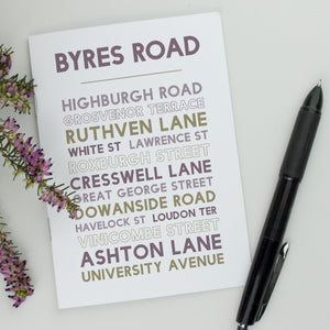 Byres Road Glasgow notebook Scottish gift