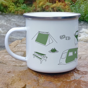 Camping enamel mug outdoors